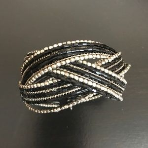 Like new black and silver beaded cuff bracelet